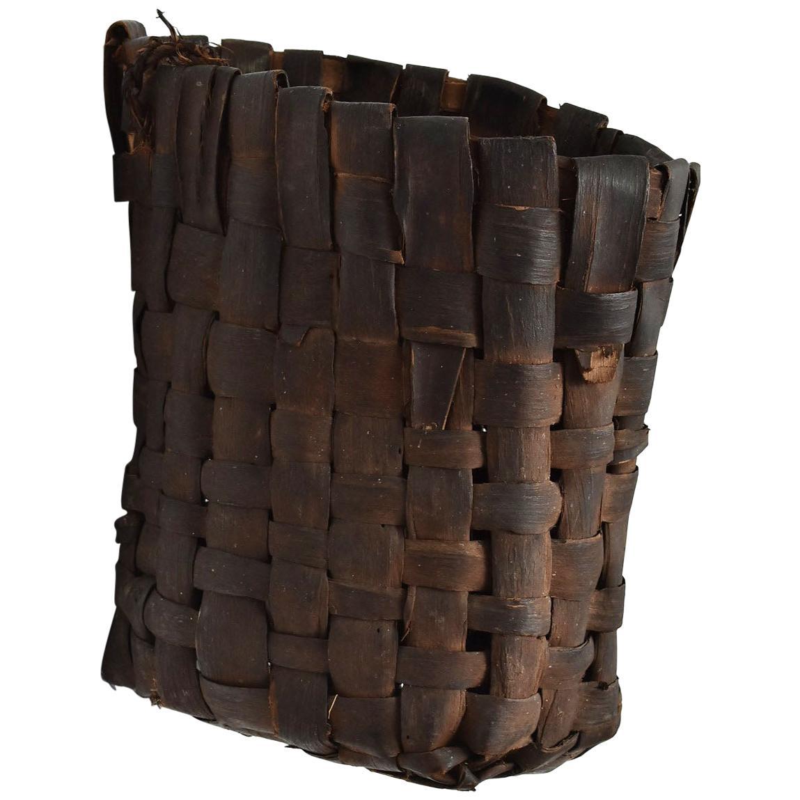 Japanese Antique Farming Tools / Basket Made of Bark / Wall-Mounted Flower Vase