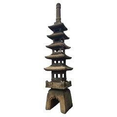 Japanese Antique Five Elements Stone Pagoda