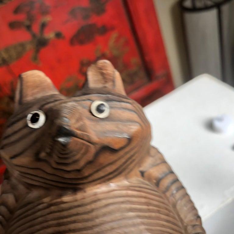 Japanese Vintage Folk Tanuki Hand Carved  3
