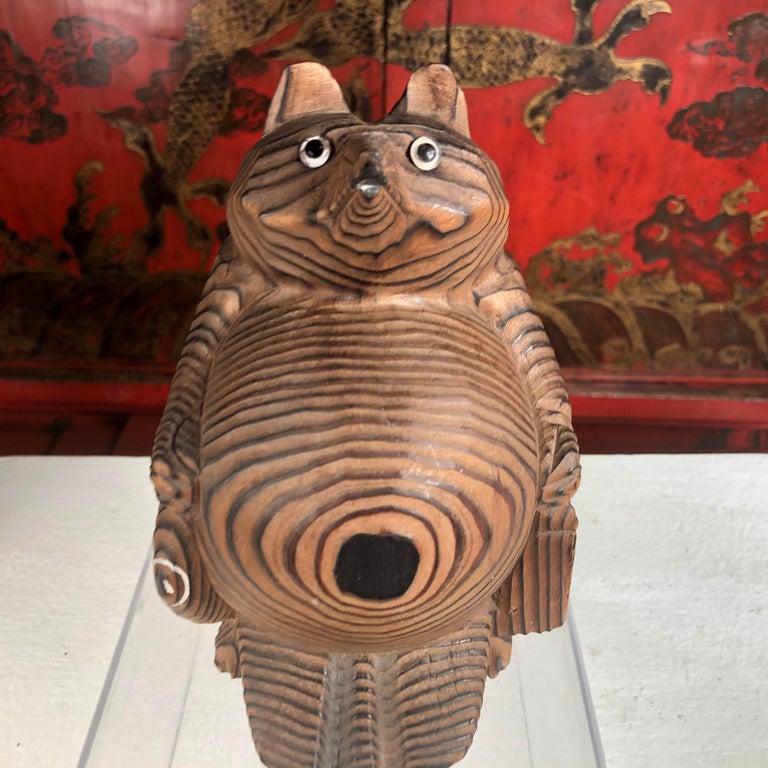 Showa Japanese Vintage Folk Tanuki Hand Carved