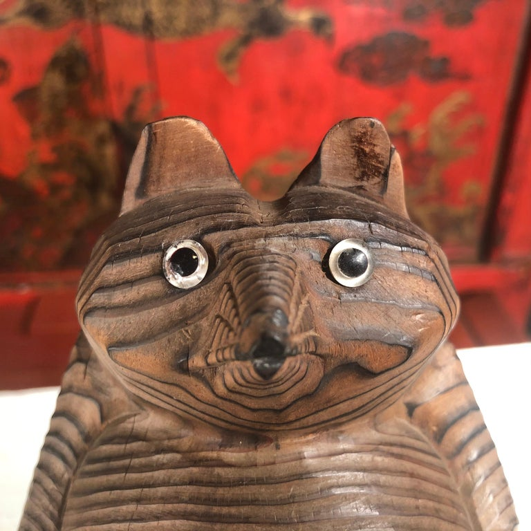 Hand-Carved Japanese Vintage Folk Tanuki Hand Carved