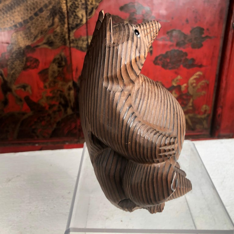 20th Century Japanese Vintage Folk Tanuki Hand Carved
