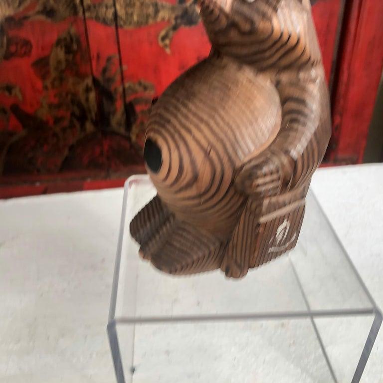 Japanese Vintage Folk Tanuki Hand Carved  1