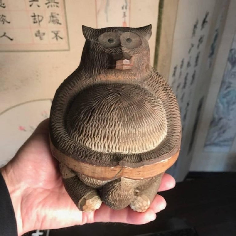 Japanese Antique Folk Tanuki Handmade Hand-Carved One-of-Kind, Miwa For Sale 5