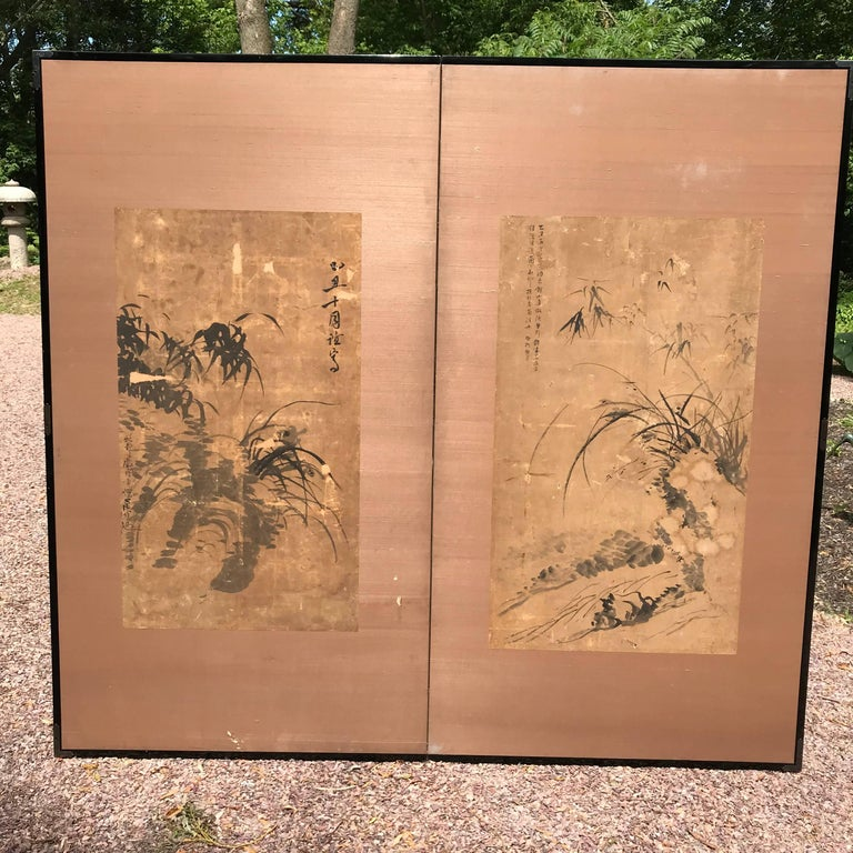 Japanese Antique Gold Calligraphy Screen, Golden Sound Jade Vibration For Sale 9