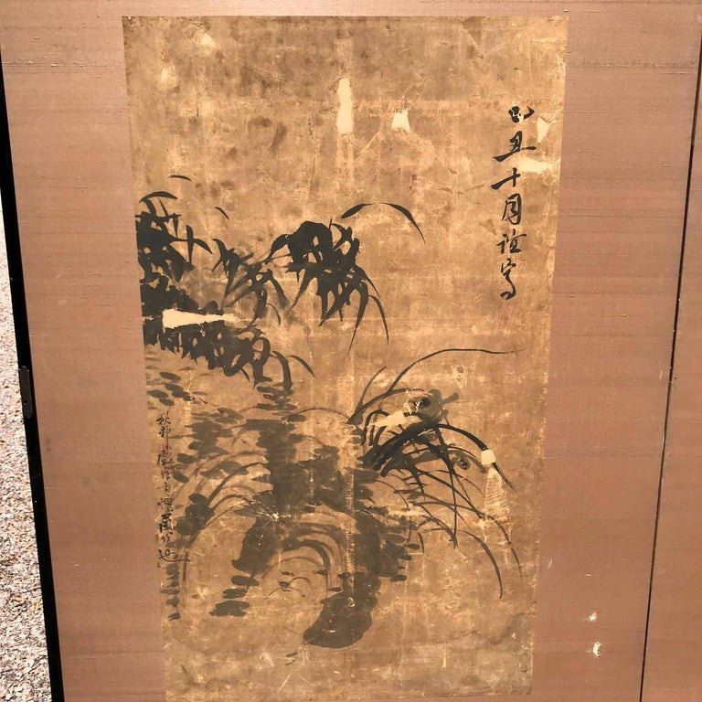 Japanese Antique Gold Calligraphy Screen, Golden Sound Jade Vibration For Sale 10