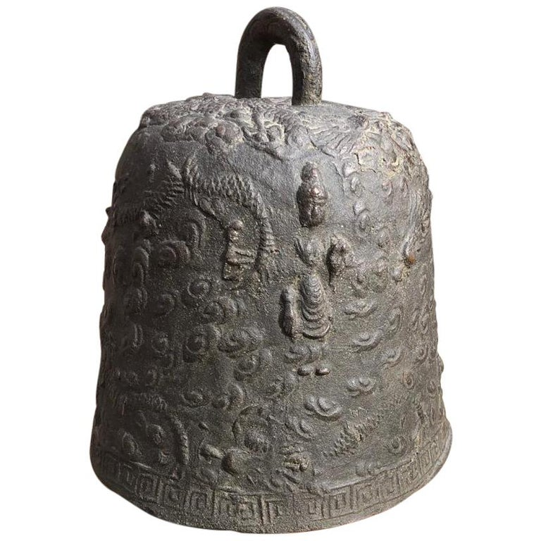 """Japanese Antique """"Guanyin & Dragons"""" Hand Cast Bronze Temple Bell For Sale"""