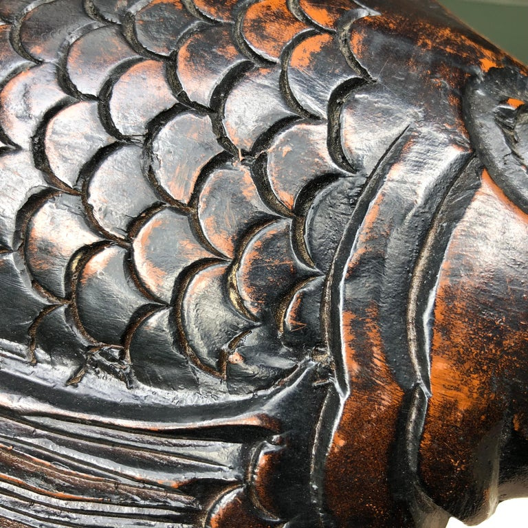 Japanese Antique Hand Carved Wood Koi Good Fortune Fish Sassy Tail, 19th Century For Sale 1