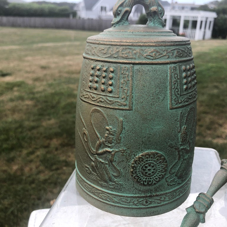 20th Century Japanese Hand Cast Bronze Temple Bell