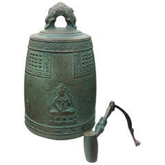 "Japanese Hand Cast Bronze Temple Bell ""Flying Angels And Buddha"""