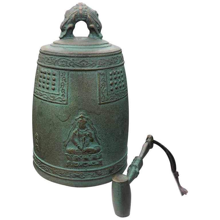 "Japanese Hand Cast Bronze Temple Bell ""Flying Angels And Buddha"" For Sale"