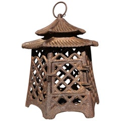"Japanese Antique Hand Cast Lantern ""Double Pagoda"" Motif"