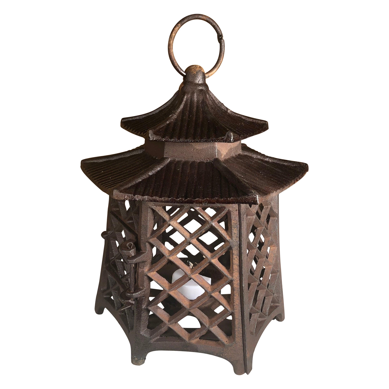 "Japanese Antique Hand Cast Lantern ""Double Pagoda"" Motif"