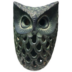 "Japanese Hand Cast ""Owl"" Wall Lantern, Rare Bird"