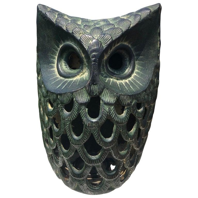 "Japanese Hand Cast ""Owl"" Wall Lantern, Rare Bird For Sale"