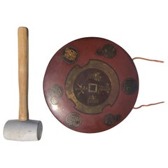Japanese Antique Hand Cast Red Bronze Garden Gong Soothing Deep Sound