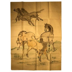 "Japanese Antique Hand Colored Painting ""5 Stunning Horses"" Hand Drawn"