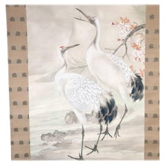 Japanese Antique Hand-Painted Mating Cranes, Pines, Flowers Silk Scroll Wood