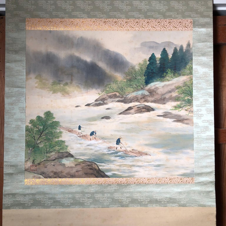 Japanese Set Four Hand Painted Four Seasons Silk Scroll Set , Vibrant Colors For Sale 8