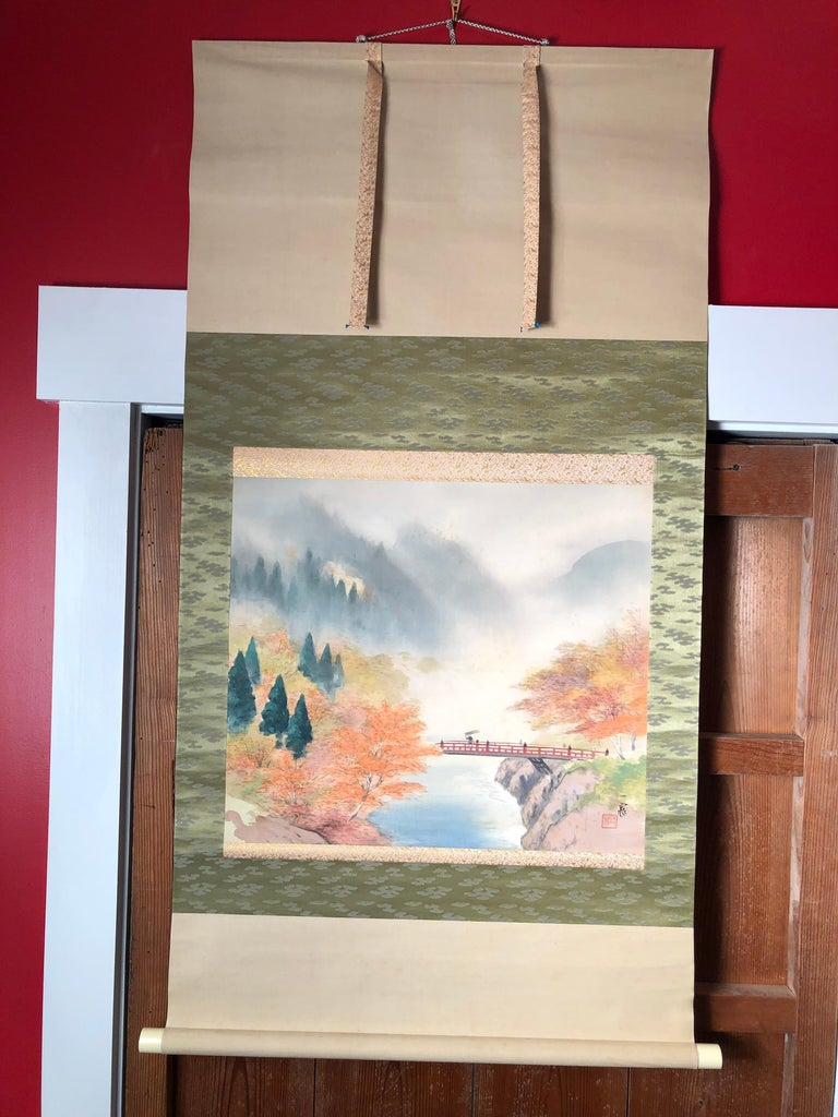 Japanese Set Four Hand Painted Four Seasons Silk Scroll Set , Vibrant Colors In Good Condition For Sale In Shelburne, VT