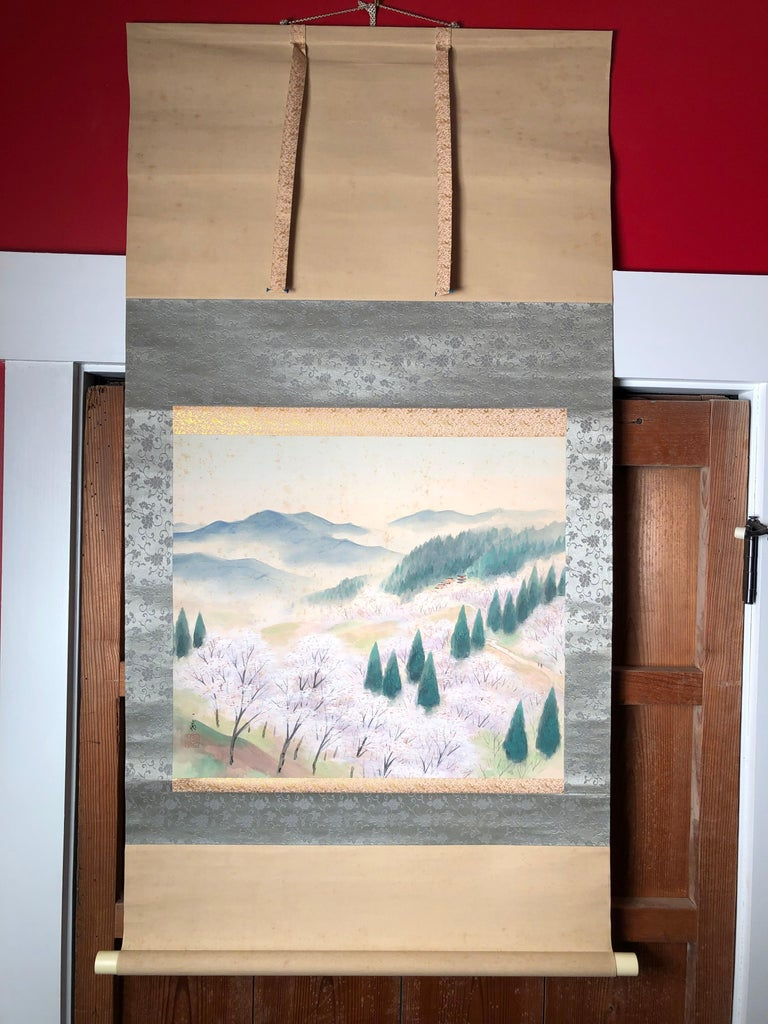 Japanese Set Four Hand Painted Four Seasons Silk Scroll Set , Vibrant Colors For Sale 3