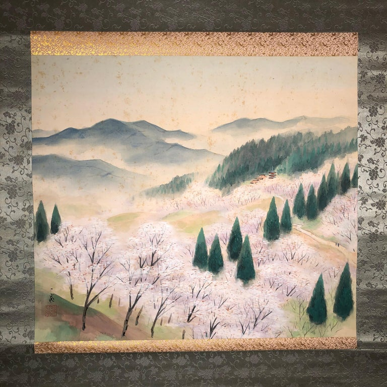 Japanese Set Four Hand Painted Four Seasons Silk Scroll Set , Vibrant Colors For Sale 4