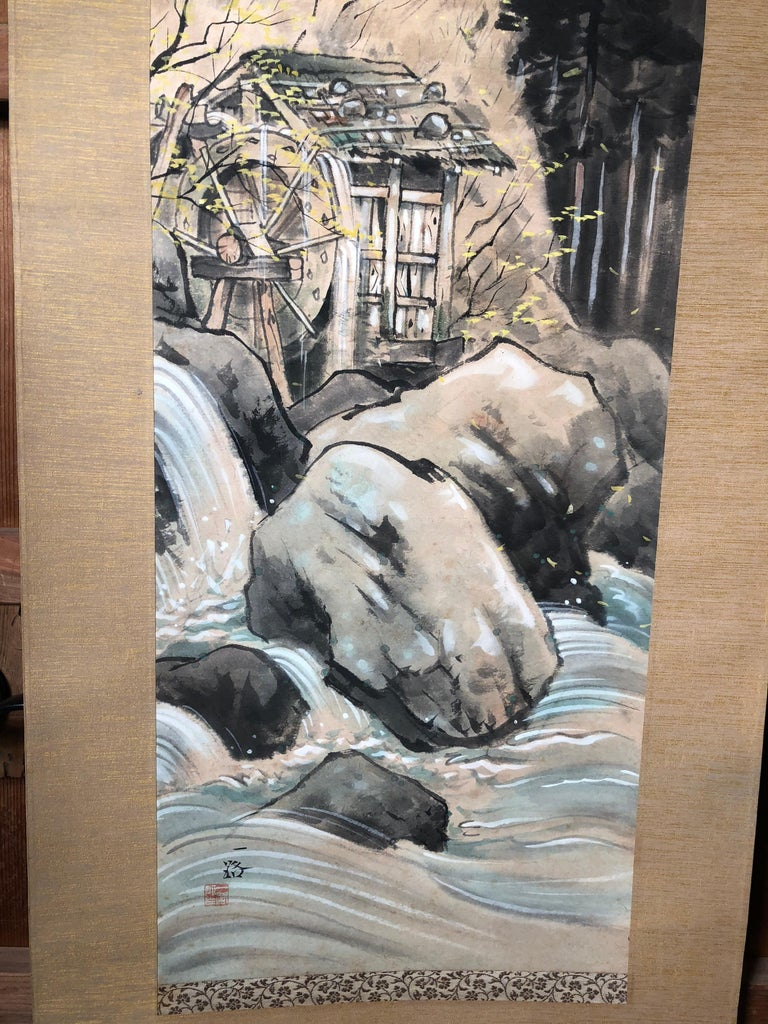 Japanese Antique Hand-Painted Old Water Mill Scroll, Signed Original Box In Good Condition For Sale In Shelburne, VT
