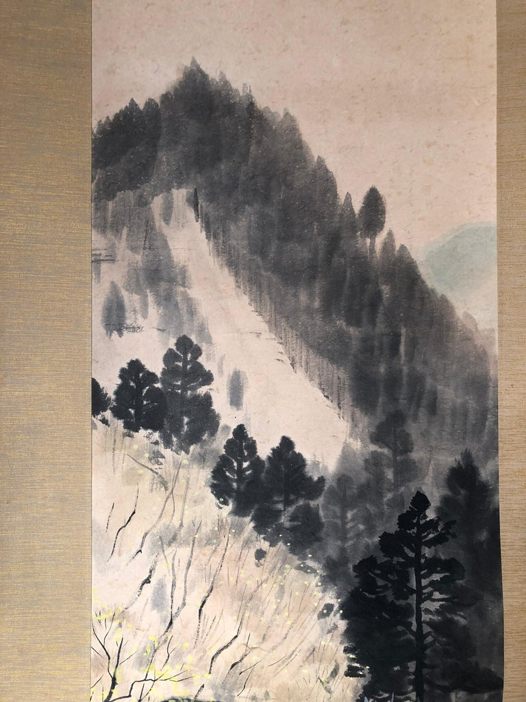 Paper Japanese Antique Hand-Painted Old Water Mill Scroll, Signed Original Box For Sale