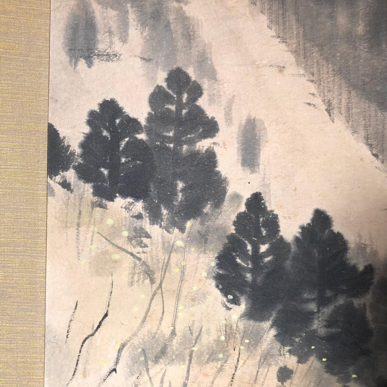 Japanese Antique Hand-Painted Old Water Mill Scroll