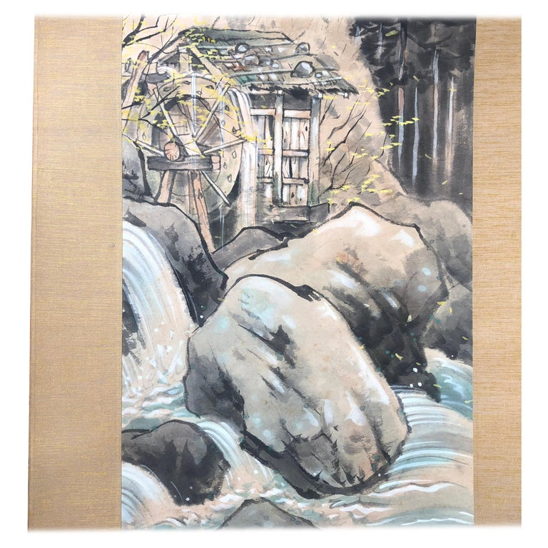 Japanese Antique Hand-Painted Old Water Mill Scroll, Signed Original Box For Sale