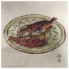 Japanese Antique Hand Painted Scroll Fresh Red Snapper