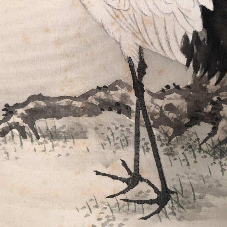 Japanese Antique Hand Painted Silk Scroll