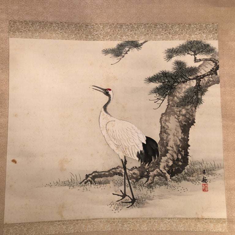 Hand-Painted Japanese Antique Hand Painted Silk Scroll