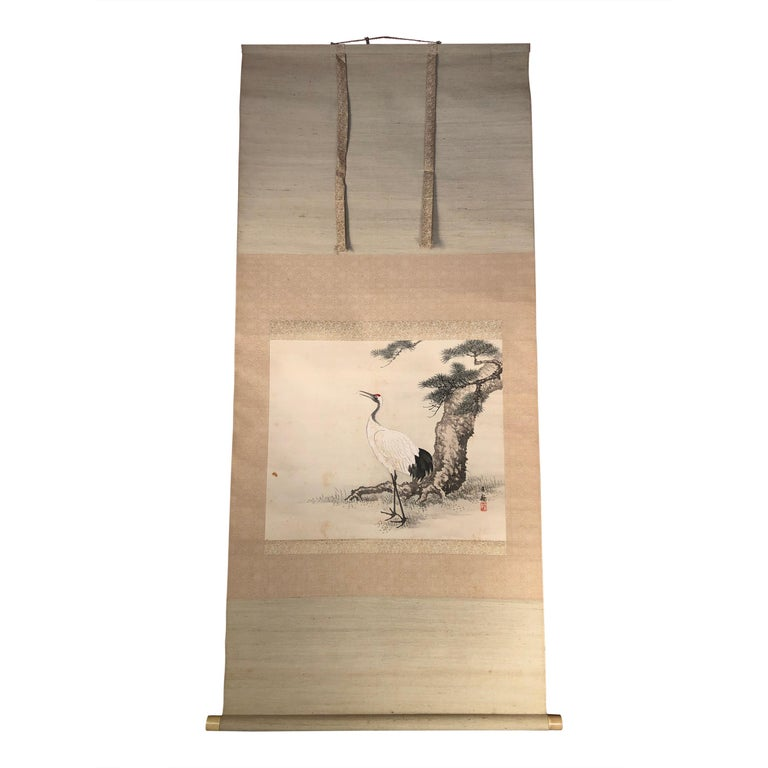 """Japanese Antique Hand Painted Silk Scroll """"RED CRANE"""" Bonus Signed Box For Sale"""