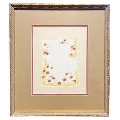 Japanese Antique Handmade Woodblock Print Depicting a Ceremonial Kimono