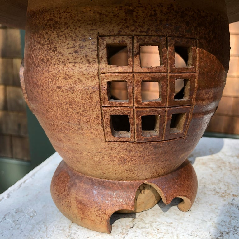 Showa Japanese Antique Hanging Stoneware Lantern One-of-a-Kind Takayama Find For Sale