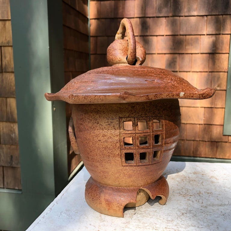 Japanese Antique Hanging Stoneware Lantern One-of-a-Kind Takayama Find In Good Condition For Sale In Shelburne, VT