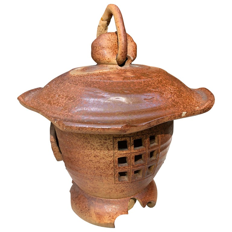 Japanese Antique Hanging Stoneware Lantern One-of-a-Kind Takayama Find For Sale