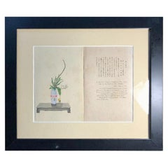 "Japanese Antique ""Ikebana Flower Display"" Framed Woodblock Print, Vibrant Colors"