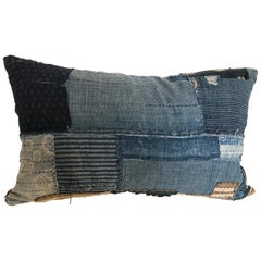 Japanese Antique Indigo Hand Loomed Cotton Boro Pillow with Sashiko Stitching