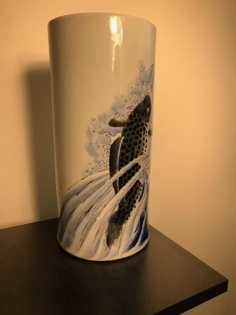 Japanese Antique Koi & Waves Vase Blue Hand-Painted, Early 20th Century For Sale 7