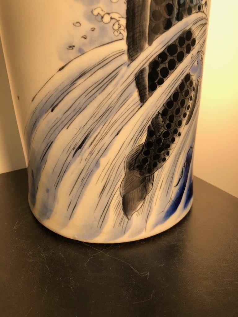 Japanese Antique Koi & Waves Vase Blue Hand-Painted, Early 20th Century For Sale 8