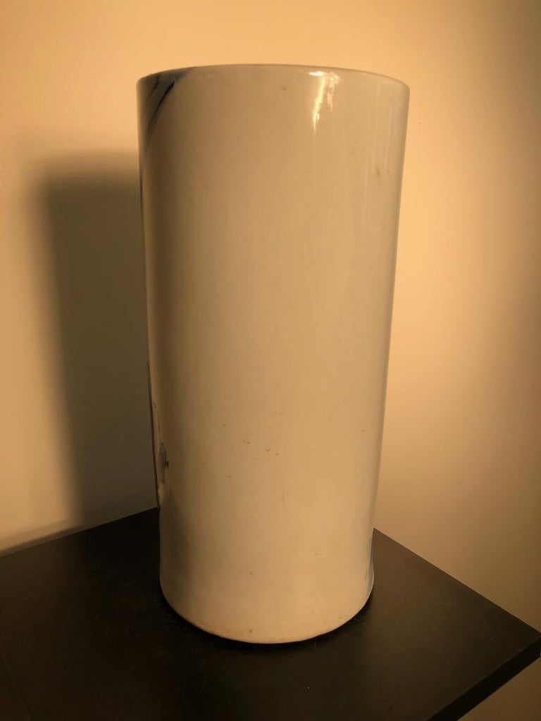 Japanese Antique Koi & Waves Vase Blue Hand-Painted, Early 20th Century For Sale 9