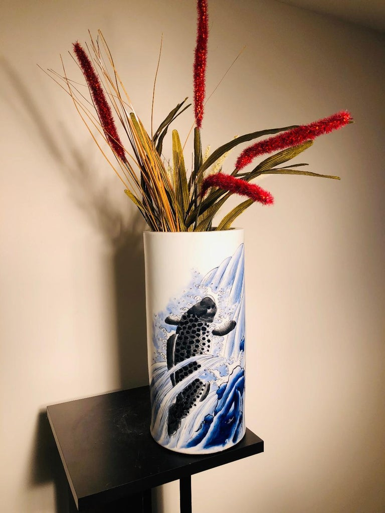 Taisho Japanese Antique Koi & Waves Vase Blue Hand-Painted, Early 20th Century For Sale