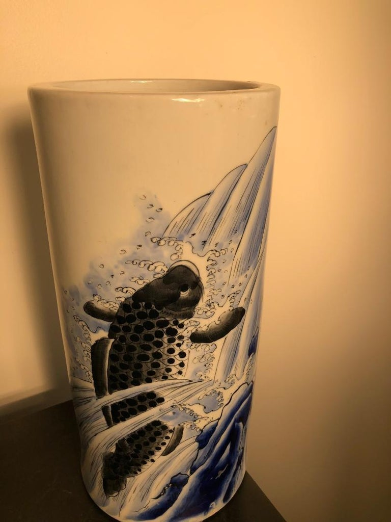 Japanese Antique Koi & Waves Vase Blue Hand-Painted, Early 20th Century In Good Condition For Sale In Shelburne, VT