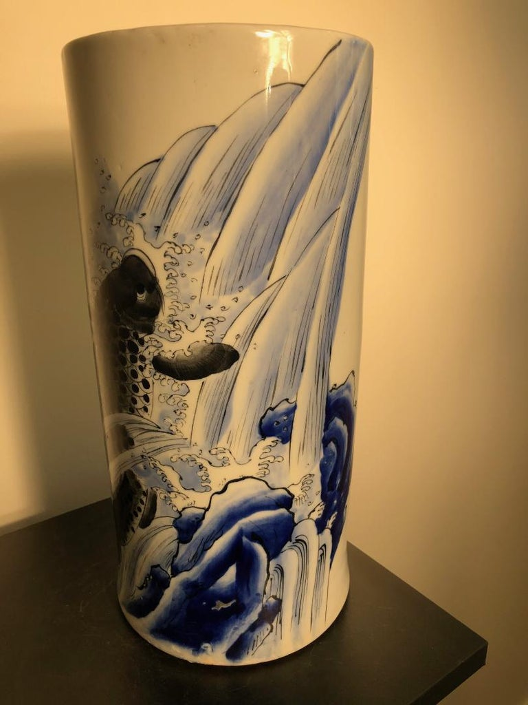 Japanese Antique Koi & Waves Vase Blue Hand-Painted, Early 20th Century For Sale 4