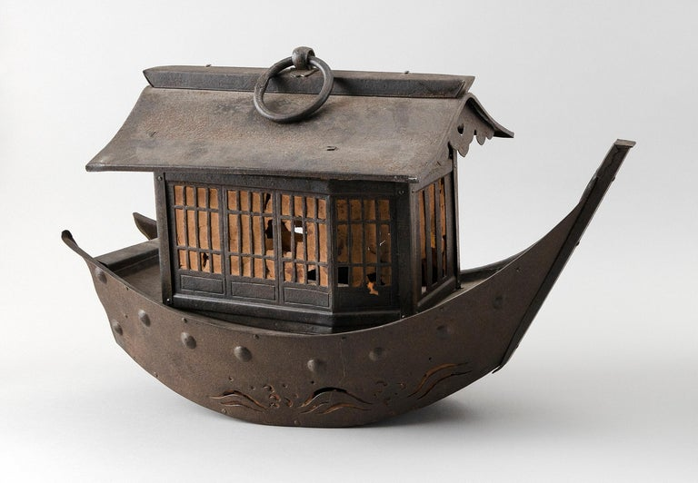 From our recent Japanese acquisitions, the first we have seen  Do you have a ship to deliver you good fortune this year?  Suited for a museum, special indoor gallery space, or garden comes this Japanese superbly hand cast lantern in the form of