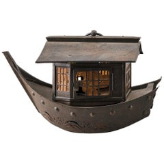 "Japanese Antique Lantern ""Treasure Fortune Ship"" Takarabune, 19th Century"