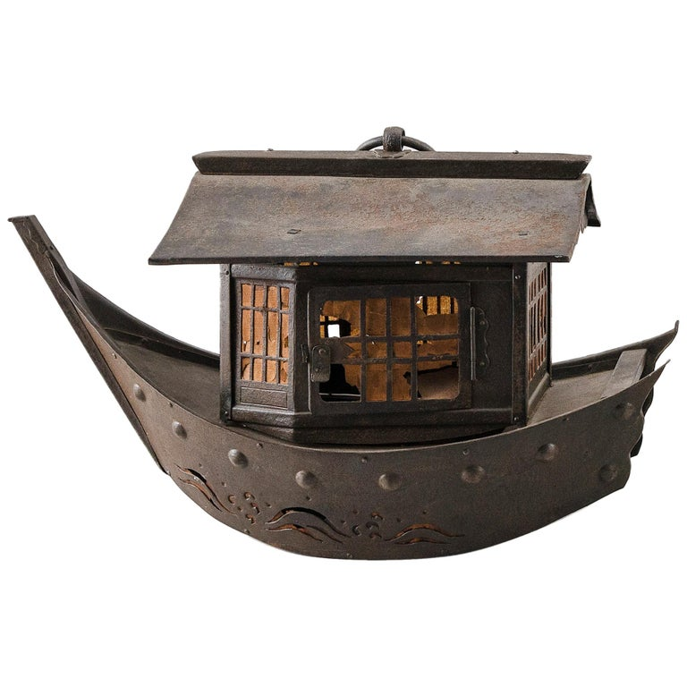 "Japanese Antique Lantern ""Treasure Fortune Ship"" Takarabune, 19th Century For Sale"