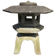 "Japanese Antique Lantern ""Yukimi"" Hand Carved Classic Water or Snow Lantern"